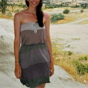 XS Strapless Colour-Block Summer Dress w/ Pockets